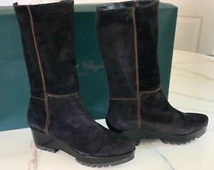 Robert Clergerie Paris Black Suede Boots W/Hand Stitching Made In France 40.5,10