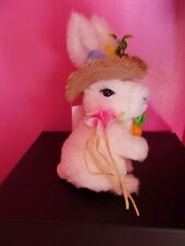 NWT Soft Furry Plush Easter Bunny Hat Flowers Carrot Table Top Spring Home Decor