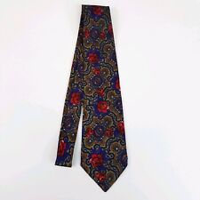 Henry Grethel Mens Tie Purple Red Floral 100% Silk Classic Length