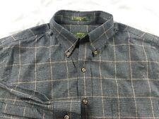 Mens ORVIS Grey Plaid Signature Wool Blend Button Down Shirt Large L