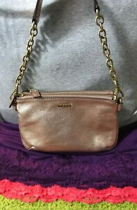 Fossil Memior Rose Gold Double Zip Credit Card Leather Chain Magnetic Hobo