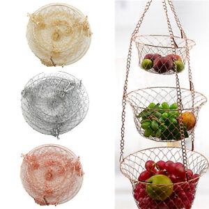 3 Layers Hanging Folding Basket Iron Wire Fruit Vegetable Basket Kitchen Storage