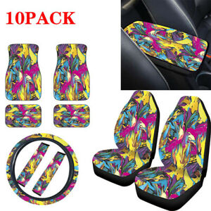 10PCS Car Seat Cover+Steering Wheel Cover+Seat Belt Armrest Foot Pad Universal