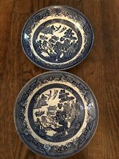 "2 Churchill Blue Willow Bowls 8"" England EUC"