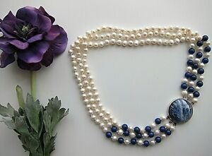 """3 Row 78 mm Cultured Pearl Necklace & Blue Agate; Length 18"""" - 20""""."""