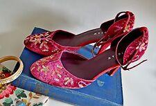 JIGSAW heels EVENING ruby pink 7 40 EMBELLISHED EMBROIDERED 1920's 30's vintage