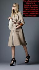 $1,495 Burberry London 8 10 42 Linen/Cotton Oversized Skirt Trench Coat Women