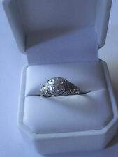 14k White Gold Antique Diamond Filigree Ring