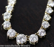 DIAMONDS TENNIS NECKLACE 8.06CT NATURAL DIAMONDS SET IN 14K YELLOW GOLD 16""