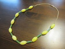 "VINTAGE 14K Solid GOLD Signed Green Yellow JADE BEADS Chain NECKLACE 20,5""=32gr"