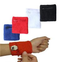 Zipper Pocket Cotton Wristband Schweißband Basketball Fitness neu