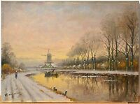 Antique vintage 20th century Dutch Oil Painting on Wood : Winter Sunset