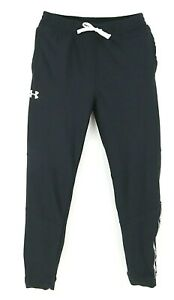 Under Armour Activewear Pants Heat Gear Boys Size YXL Black Pockets Tie String