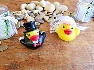 Quietsche Ente Hochzeit SET Brautpaar lustig Geschenk Heirat Braut Zylinder