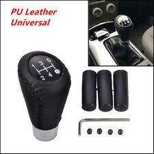 5 Speed Leather Black Stitche Universal Manual Car Gear Stick Shift Knob Shifter