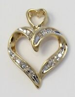 10k Yellow Gold Diamond Heart Ladies Necklace Pendant