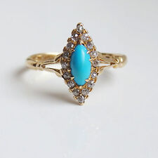 Antique Victorian 18ct Gold Turquoise & Diamond Marquise Ring c1900 Size 'K 1/2'