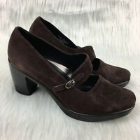 "Dansko 40 Mary Jane 3"" Heels Brown Suede Career Chunky Round Toe 9.5 10 Womens"