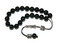 0156 Loose String Greek Komboloi Prayer Beads Worry Beads 10mm Black Agate Beads