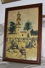 "Framed Poster ""Market In Mexico"" Reached By Missouri Pacific Lines Railway 1890"