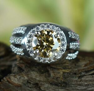 Champagne Diamond Solitaire With Accents Men's Ring 4.24 Ct New Year's Gift