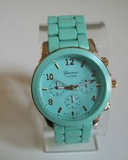 Women's Chunky Gold/Mint Green Finish Geneva Bracelet Fashion Boyfriend Watch