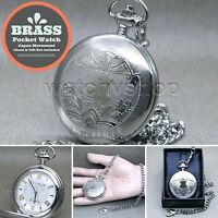 SILVER BRASS Antique Vintage Quartz Analog Pocket Watch Fob Chain Gift Box P280
