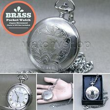"Silver Antique Pocket Watch Brass Case Men Size Gift + 14"" Fob Link Chain P280"