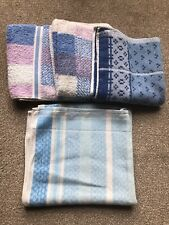 VINTAGE/RETRO 4 HAND TOWELS  BLUE/BLUE MIX ALL IN GOOD CONDITION TAYCREST ETC;