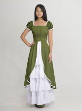 Green White Short Sleeves Cotton Maid Dress Set Classic Lolita Style Custom Made