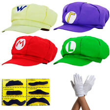 Super Mario Mütze Kostüm Karneval Fasching Cap Handschuhe Erwachsene Cosplay Hut