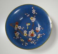 Jingfa Chinese Cloisonne Bowl w/ Butterfly & Flowers - Blue Background