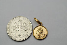 10K solid gold Saint Christopher medal / pendant