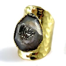 Natural Agate Titanium Druzy Ring Faceted Large Statement Stone Geode Pewter New