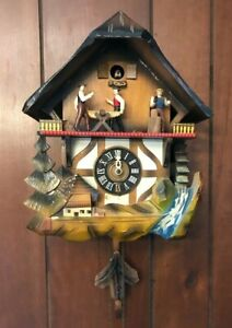 Vintage Wood Black Forest German Cuckoo Clock Germany Chalet Musical Waterwheel