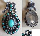 Pendentif reliquaire porte-photo argent massif turquoise + perle silver pendant