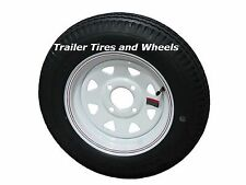 "2* 5.30-12 LRC Loadstar Bias Trailer Tires on 12"" 4 Lug White STP Wheels 5.30x12"