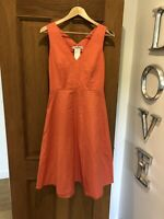 Women's Gorgeous MAXMARA Coral Orange Sleeveless Dress UK 8
