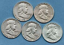 More details for 5 usa silver half dollar coins, 1950 - 1963. philadelphia / denver mint. job lot