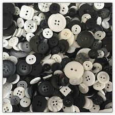 200 Random Mix BLACK WHITE GREY CLEAR & Assorted Buttons Sewing Scrapbook Lots