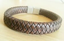 Men's Leather Bracelet ~ Magnetic Clasp ~ Brown Hand Woven Leather ~ 21.5 cm