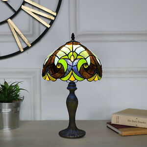 HOME DECOR ANTIQUE STYLE TIFFANY TABLE DESK LAMP STAINED GLASS