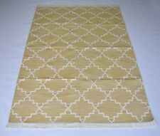 Modern Cotton Kilim Rug Ivory Color Bedroom Rug 4x6 Feet Home Decorative Rug
