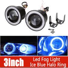 "2X 3"" inch Round LED Projector Fog Light & Ice Blue Angel Eye Halo DRL 4X4 Truck"
