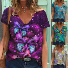 Summer Women Butterfly Print Blouse V Neck Short Sleeve T Shirt Casual Loose Top