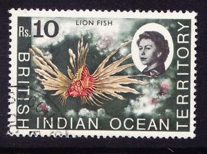 BRITISH INDIAN OCEAN TERR 1968 QEII SG30 10rs top value fine used cto. Cat £6.50