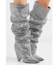 Womens Luxury Sequins Rhinestones Pointed Toe Knee High Boots Heels Shoes F820