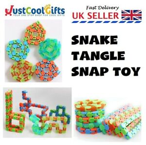 SNAKE TANGLE TOY PUZZLE SNAP RELAX ANXIETY STRESS ADHD FIDGET SENSORY AID UK