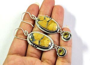 Maligano Jasper Lemon Quartz Gemstone Fashion Jewelry Silver Earring E-660