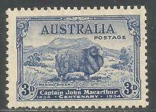 Australia 1934 Merino Sheep 3p dark blue-Attractive Animal Topical (148) Mh